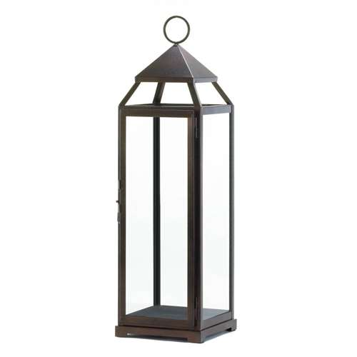 Extra Tall Bronze Metal Contemporary Candle Lantern