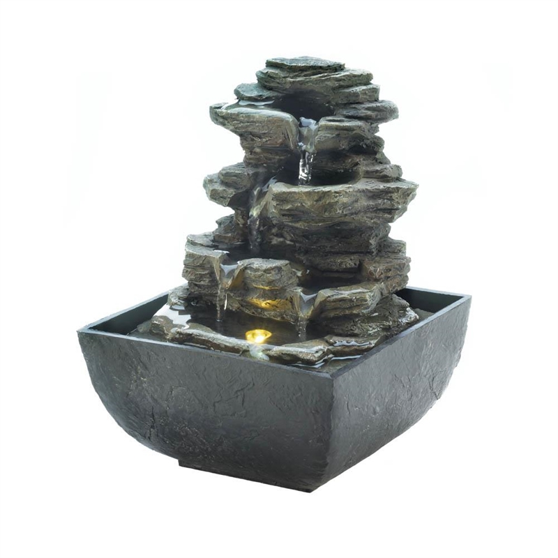 Cascading Fountains - Tiered Rock Formation Tabletop Fountai